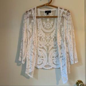 Drapey Boho White Lace Cardigan L